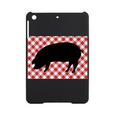 Black Pig Silhouette on Red and Whi iPad Mini Case