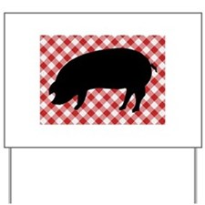 Black Pig Silhouette on Red and White Gi Yard Sign