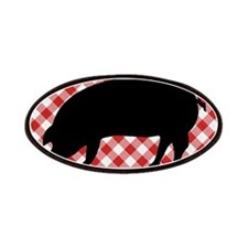 Black Pig Silhouette on Red and White Gingha Patch