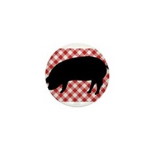 Black Pig Silhouette on Red and White Mini Button