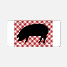 Black Pig Silhouette on Red Aluminum License Plate