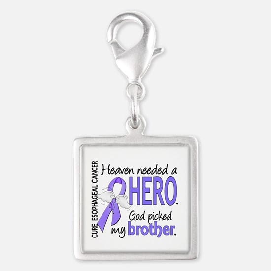 Esophageal Cancer HeavenNeede Silver Square Charm