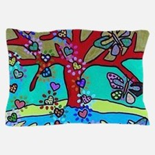 Red Tree Of Life Falling Hearts Growt Pillow Case