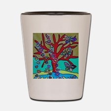 Red Tree Of Life Falling Hearts Growth Shot Glass
