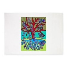 Red Tree Of Life Falling Hearts Gr 5'x7'Area Rug