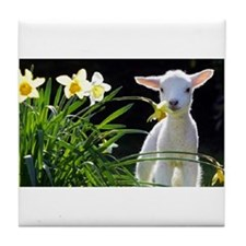 EASTER LAMB AND FLOWERS 2 Tile Coaster