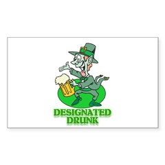 st. patty drunk Rectangle Decal