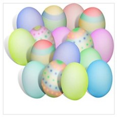 Pastel Colored Easter Eggs Poster