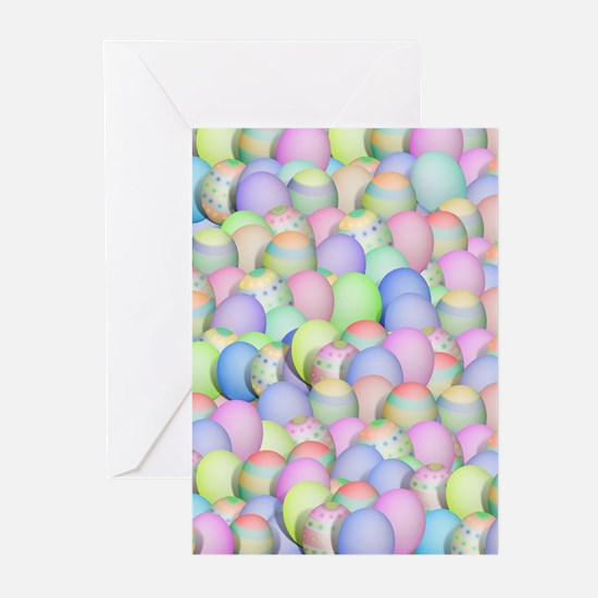 Pastel Colored Easter Eggs Greeting Cards