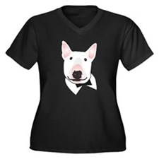 Unique Bull dog Women's Plus Size V-Neck Dark T-Shirt