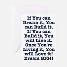 Dream, Build, Live, Love Greeting Cards
