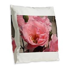 Pink Rose Burlap Throw Pillow