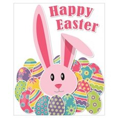 Happy Easter - Bunny & Eggs Poster