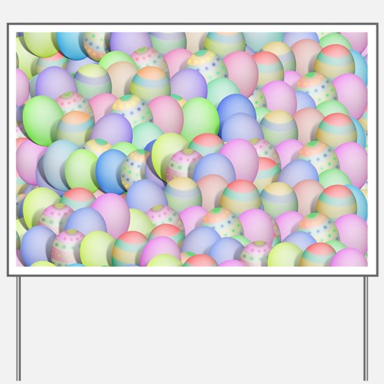 Pastel Colored Easter Eggs Yard Sign