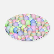 Pastel Colored Easter Eggs Oval Car Magnet