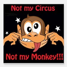 """Not My Monkey Square Car Magnet 3"""" x 3"""""""