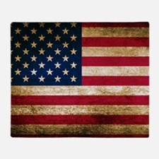 Vintage Fade American Flag Throw Blanket