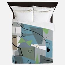 Mid-Century Modern Abstract Queen Duvet