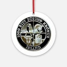 Icelandic Leif Ericson 1000 Kronu Ornament (Round)