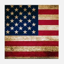 Vintage Fade American Flag Tile Coaster