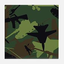 Custom Military Camouflage Pattern Tile Coaster