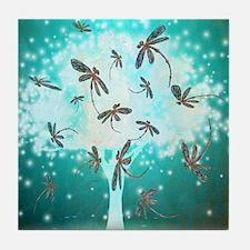 Dragonfly Glow Tree Tile Coaster