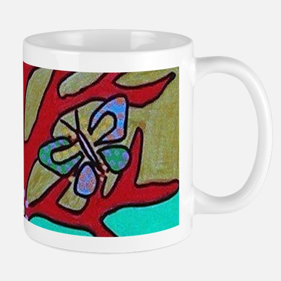 Red Tree Of Life Falling Hearts Growth Of Bu Mugs