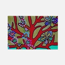 Red Tree Of Life Falling Hearts Growth Of Magnets