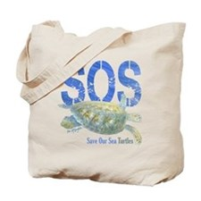 Sos Save Our Sea Turtles Tote Bag