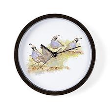 Covey of California Quail Birds Wall Clock