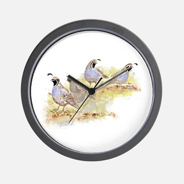 Covey of California Quail Birds Wall Clock