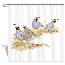 Covey of California Quail Birds Shower Curtain