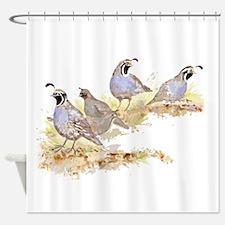 Covey of California Quail Birds Shower Curtain