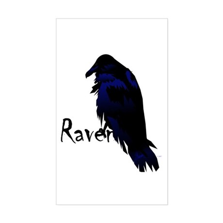 Raven Perched on Raven Rectangle Sticker