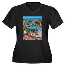 Safari Women's V-Neck Dark Plus Size T-Shirt