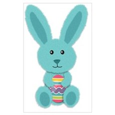 Blue Easter Bunny Canvas Art