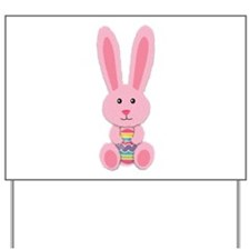 Pink Easter Bunny Yard Sign