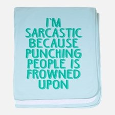 Punching People is Frowned Upon baby blanket