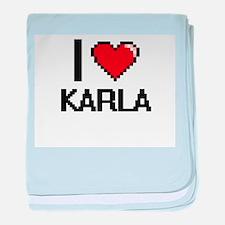 I Love Karla baby blanket