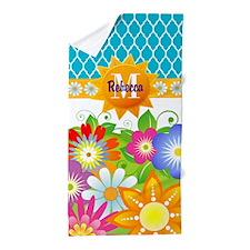 Spring Flowers Monogram Custom Beach Towel