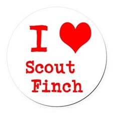 I Heart Scout Finch Round Car Magnet