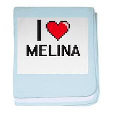 I Love Melina baby blanket