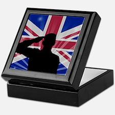 Military Salute On England Flag Keepsake Box