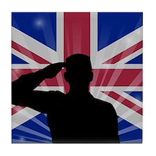 Military Salute On England Flag Tile Coaster