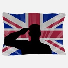 Military Salute On England Flag Pillow Case
