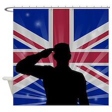 Military Salute On England Flag Shower Curtain