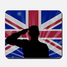 Military Salute On England Flag Mousepad