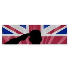 Military Salute On England Flag Bumper Bumper Sticker
