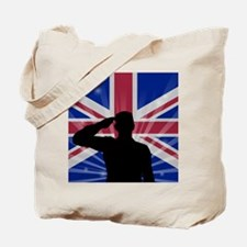 Military Salute On England Flag Tote Bag