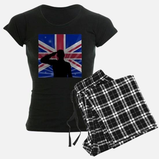 Military Salute On England Flag Pajamas